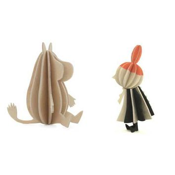 Moomintroll and Little My wood sculptures 9 cm by Lovi
