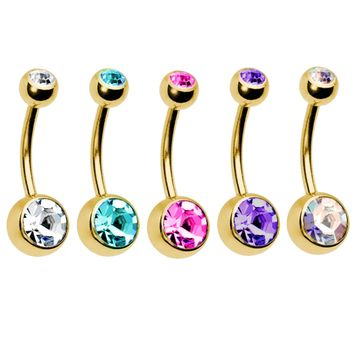 BodyJ4You 5PC Belly Button Rings 14G Crystal Goldtone Stainless Steel Curved Navel Barbell Set