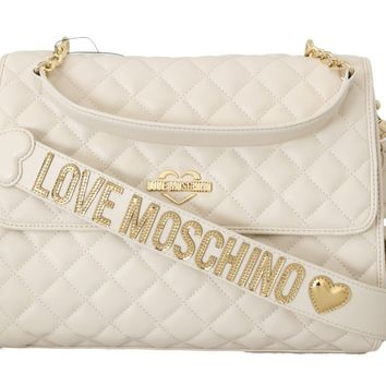 White Quilted Faux Leather Shoulder Bag