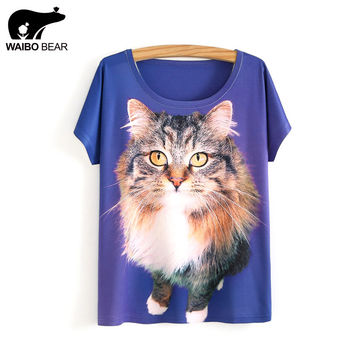 Women Brand 2017 Blue T-Shirts 3D Cat Print Animals Pattern Stylish Basic Casual T Shirt Emoji Tee Tees Camisetas WAIBO BEAR