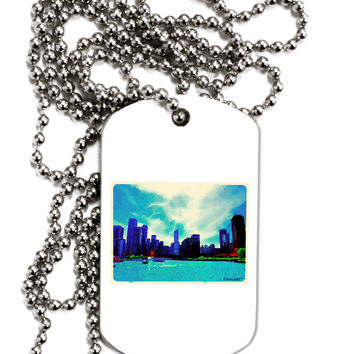 Chicago Skyline Watercolor Adult Dog Tag Chain Necklace