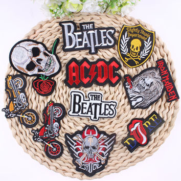 ACDC Punk Patch Rock Band Skull Patch Biker Iron On Cheap Embroidered Motorcycle Patches For Clothes Stickers Jeans Badges