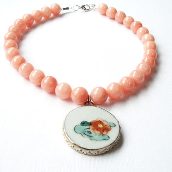 Peach Orange  Jade with Qing Dynasty Chinese Pendant Necklace,  Antique Chinese Round Flower Pendant, Porcelain Beaded Gemstone Necklace