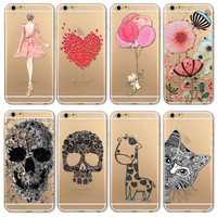 Phone Case Cover For Iphone 6 6s 4.7 Transparent Flowers Skull Cat Girl Love Heart Patterns Ultra Soft Tpu Back Capa Shell