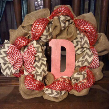 Chevron and red burlap wreath