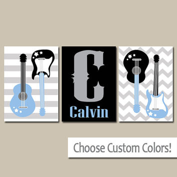 GUITAR Wall Art CANVAS or Prints Music Theme Nursery Boy Bedroom Name Wall Art Music Art Rock N Roll and Set of 3 Boy Decor Guitars
