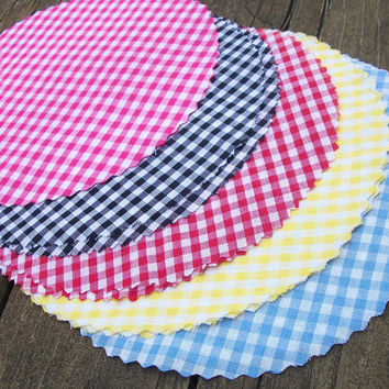 6 Gingham Jam Covers, 5 color options available Fabric Cloth Toppers for mason jars, food preservation, wedding favors