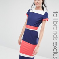 Paper Dolls Tall Short Sleeve Colour Block Pencil Dress With Belt
