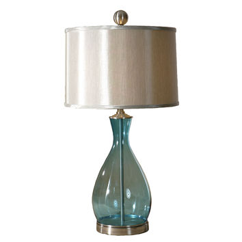 Modern Clear Blue Glass Table Lamp with Silk Fabric Drum Shade
