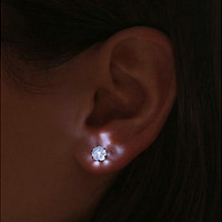 Stainless LED Crystal Earring Glowing Light Up Ear Stud For Female