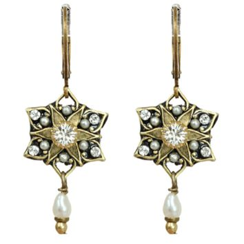 Art Deco Small Star Pearl Dangle Earrings, Jewelry