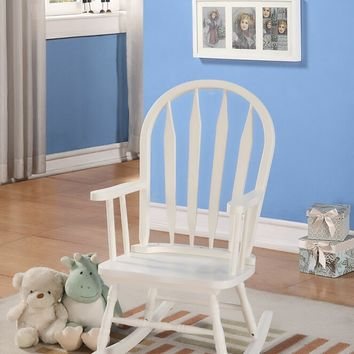Kloris collection arch top slatted back white finish wood children's size rocking chair