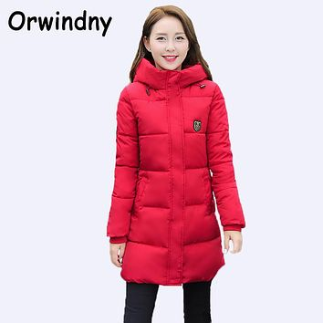 Fashion Long Winter Jacket Women Slim Coat Thicken Parka Cotton Clothing Hooded