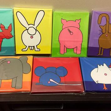 "PICK ANY 3 Bobs Burgers Aunt Gayle's Art Crawl Animal Anus / Butt Paintings - 8 X 10"" made to order on Stretched Canvas or Flat Canvas Panel"