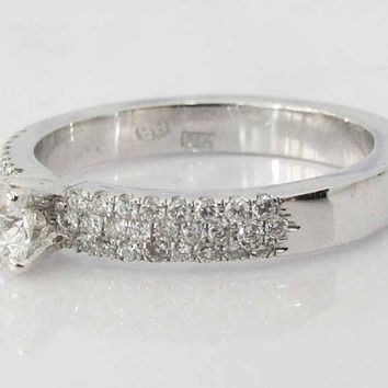 Engagement Pave Diamond Ring 14 kt White Gold 0.47 ct total Diamonds