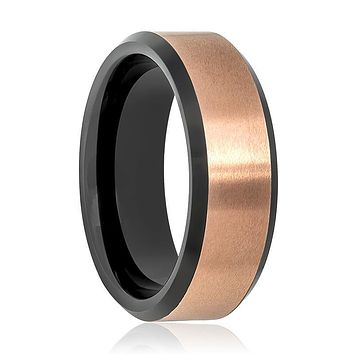 Aydins Black & Rose Gold Brushed Tungsten Wedding Ring for Men 8mm Beveled Edge Tungsten Carbide Wedding Band