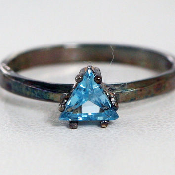 Oxidized Blue Topaz Trillion Ring Sterling Silver 925, December Birthstone Ring, Oxidized Topaz Trillion Ring, Oxidized Blue Topaz Ring