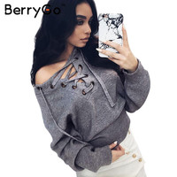 BerryGo Lace up winter sweater women 2016 Casual loose belt ribbed top knitwear Sexy jumper Elastic hem pullover outwear