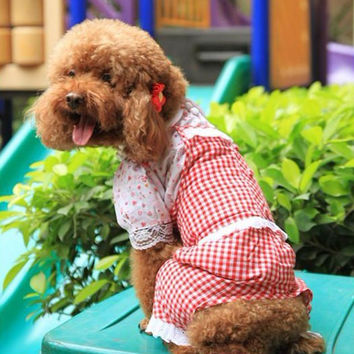 Plaid Overall Shirt & Pant for Dog's Fashion Sense Pet Clothing Store LARGE-Color Red