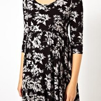 ASOS Maternity Skater Dress In Mono Floral