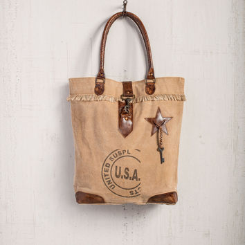 MONA B RECYCLED CANVAS USA STAMPED TOTE BAG PURSE