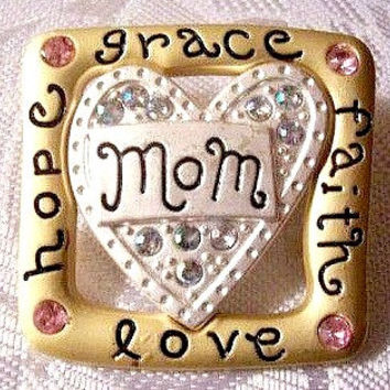 Mom Mothers Day Square Pin Brooch Gold Silver Tone Vintage Satin Heart Love Hope Faith Grace Pink Aurora Borealis Stones
