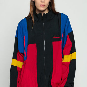 Adidas Windbreaker Jacket 80s Jacket Stripe Shell Jacket Red Sports Color Block Funnel Neck Hipster Vintage 1980s Black Blue Extra Large xl