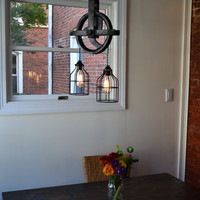 Re-purposed Barn Pulley Industrial Light [ Swag Version/Plugs Into Outlet ]
