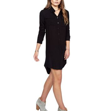 Michael Lauren Charlie Button Up Dress in Black