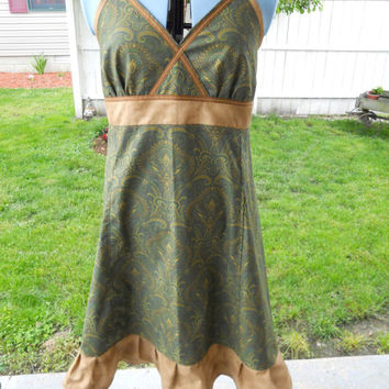 Earthy Browns & Green Paisleys Hippie Patchwork Halter Sun Dress Adjustable Mid Length Festival Clothes Maxi Dress  Up to Plus Size