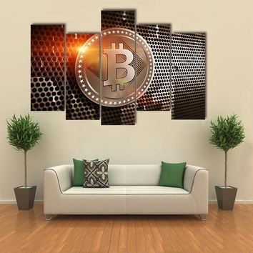 Bitcoin Sign On Perforated Sheet Metal Multi Panel Canvas Wall Art