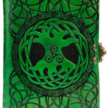 Tree of Life Leather Covered Journal Green with Latch 5 inches by 7 inches