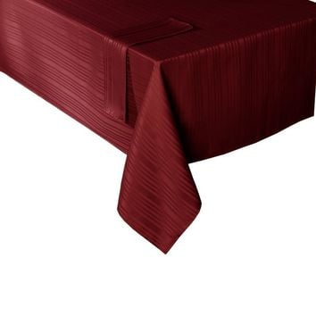 Maytex Mills Stripe Dobby Fabric Tablecloth, 60-Inch by 84-Inch, Burgundy