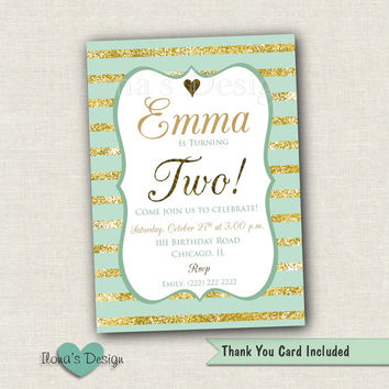 Mint and Gold Birthday Invitation - Gold Glitter Birthday - Printable Invite - Party Invitations - First Birthday Invitation - Gold and Mint