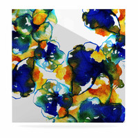 "Sonal Nathwani ""Blue Orange Floral"" Abstract Watercolor Luxe Square Panel"