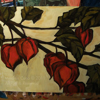 Original painting of chinese lantern plant