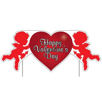 Valentine's Lawn Decoration - Happy Valentine's Day Cupid 2' x 4' Sign