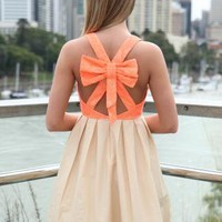 Light Orange Bow Back Dress with Orange Lace Keyhole Bodice