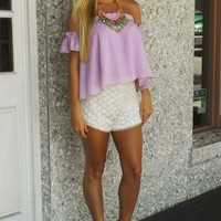 Ready In Ruffles Top: Lilac