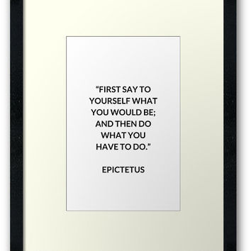 'EPICTETUS Stoic Philosophy Quote' Framed Print by IdeasForArtists