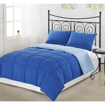 King/CAL King size 3-Piece Light Blue/Royal Blue Microfiber Comforter Set with 2 Shams
