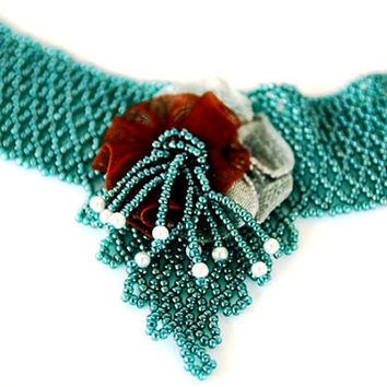 Beadwoven Turquoise Beadwork Necklace - Beadweaving - Seed Beads - Green Blue Choker with a ribbon flower, FREE SHIPPING