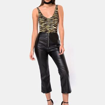 Moto Pants in Vegan Leather Black by Motel