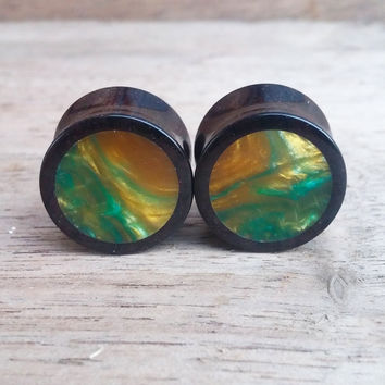 Ebony Plugs with Gold and Green Swirl Resin Inlay | 5/8""