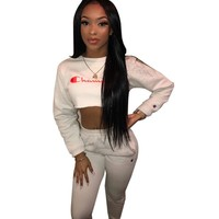 Champion Women Fashion Stripe Shirt Top Tee Pants Trousers Set Two-Piece Sportswear