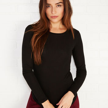 Long Sleeve Ribbed Knit Tee | Wet Seal