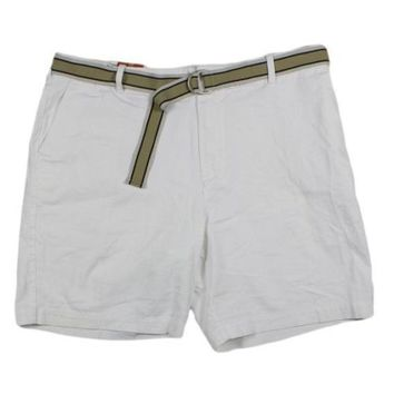 IZOD Men's Flat Front Cotton Belted Shorts White Size 38