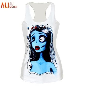 Alisister Polyester Sexy Femme Tank Top Print Corpse Bride Top 3d Sleeveless Shirt Creepy Clothing Womens Harajuku Crop Top