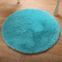 Round Polyester Fluffy Floor Mats Carpet Shaggy Area Rug Door Floor Home Bedroom Decoration