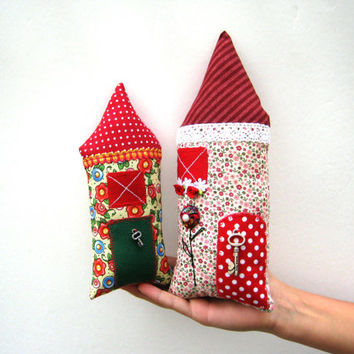 Two handmade stuffed houses,Fairy Pillow House,Stuffed Toy,Fairy Cottage,Boys,Girls,Children,patchwork